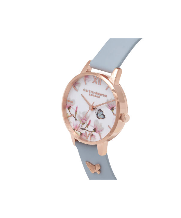 OLIVIA BURTON LONDON  Pretty Blossom Blue & Rose Gold Watch OB16ES08 – Midi Dial Round in Rose Gold and Chalk Blue - Side view
