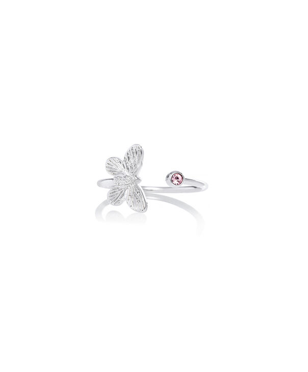 OLIVIA BURTON LONDON Bejewelled Butterfly Ring Silver & Pink StoneOBJ16MBR02 – Ring in  and Silver - Front view