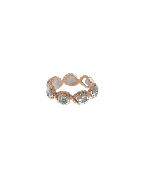 OLIVIA BURTON LONDON  Flower Show Rope Ring Silver and Rose Gold OBJ16FSR08 – Floral Charm Ring - Front view