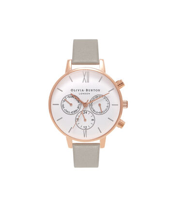 OLIVIA BURTON LONDON  Chrono Detail Grey, Rose Gold & Silver Watch OB16CG91 – Big Dial Round in White and Grey - Front view