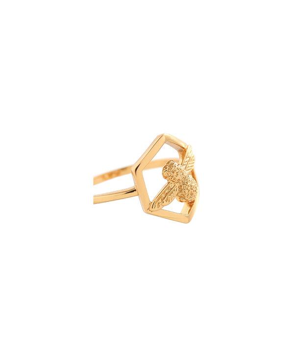 OLIVIA BURTON LONDON  Honeycomb Bee Ring Gold OBJ16AMR05 – Honeycomb Bee Ring - Side view