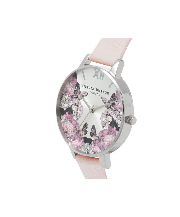 OLIVIA BURTON LONDON  Signature Florals Blush & Silver OB16WG51 – Big Dial Round in Silver - Side view