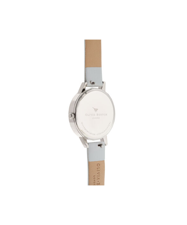 OLIVIA BURTON LONDON  Lace Detail Mother of Pearl Light Grey & Silver OB16MV93 – Midi Dial Round in Silver and Grey - Back view