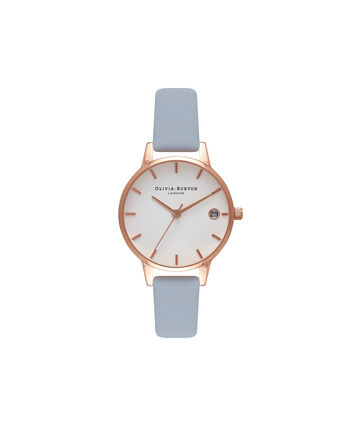 OLIVIA BURTON LONDON The DandyOB16TD17 – Midi Dial Round in White and Blue - Front view