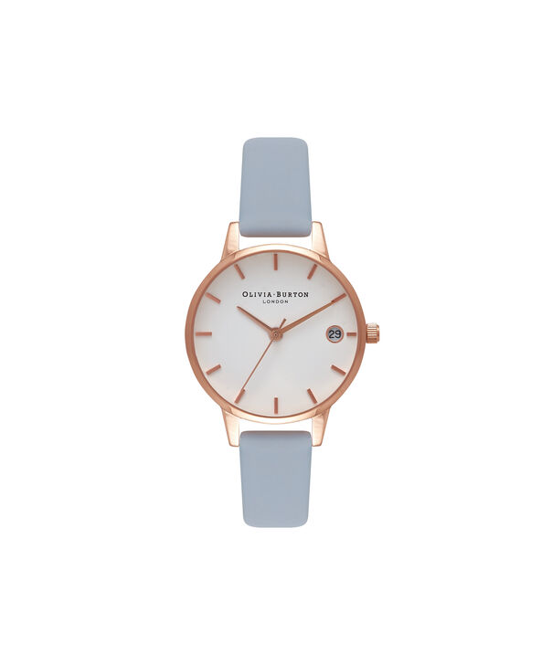OLIVIA BURTON LONDON  Chalk Blue & Rose Gold Watch OB16TD17 – Midi Dial Round in White and Blue - Front view