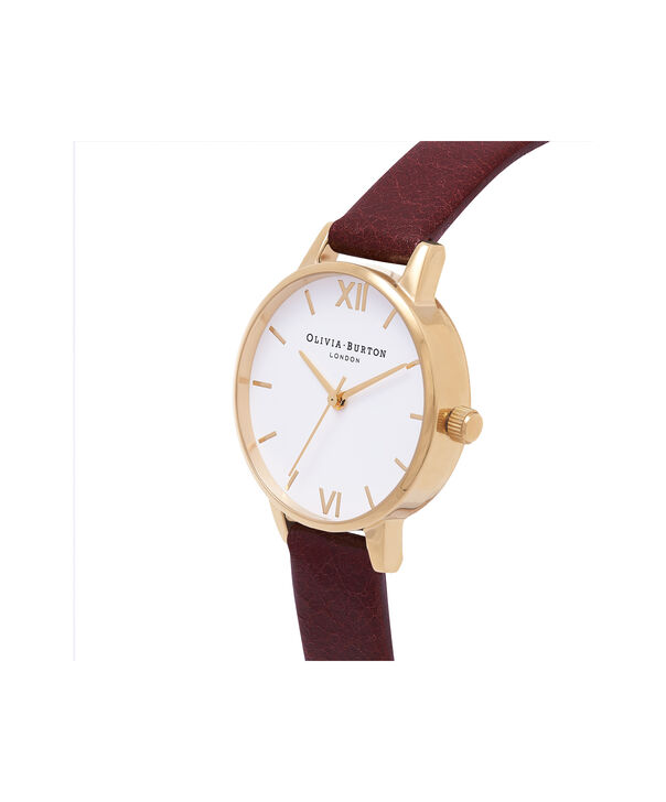 OLIVIA BURTON LONDON  Midi White Dial Burgundy & Gold Watch  OB16MDW31 – Midi Dial Round in Rose Gold, White and Burgundy - Side view