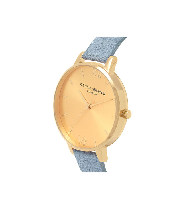 OLIVIA BURTON LONDON  Sunray Dial Chalk Blue Suede & Gold OB16BD111 – Big Dial Round in Gold and Chalk Blue - Side view