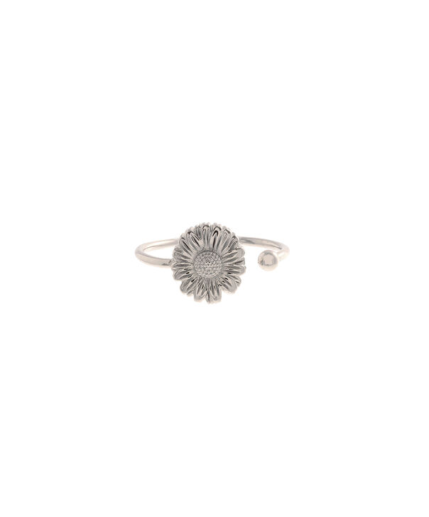 OLIVIA BURTON LONDON  Daisy Open Ended Ring Silver OBJ16DAR05 – 3D Daisy Ring - Front view