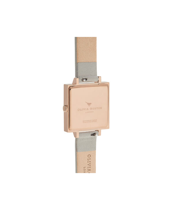 OLIVIA BURTON LONDON  Big Dial Square Dial Grey & Rose Gold Watch OB16SS23 – Big Dial Square in White and Grey - Back view