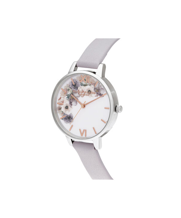 OLIVIA BURTON LONDON Watercolour Florals Demi Grey Lilac Rose Gold & SilverOB16PP56 – Demi Dial In Grey And Silver - Side view