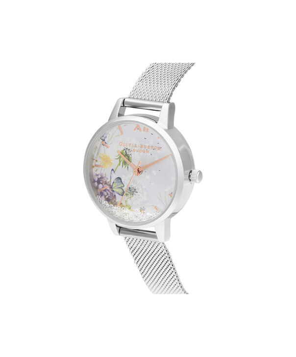 OLIVIA BURTON LONDON Wishing Watch Silver Sunray, Rose Gold & Silver MeshOB16SG03 – Midi Dial In Silver And Silver - Side view