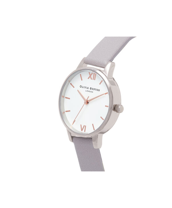 OLIVIA BURTON LONDON Midi Dial White Dial Grey Lilac Watch, Rose Gold & SilverOB16MDW26 – Midi Dial in White and Grey Lilac - Side view