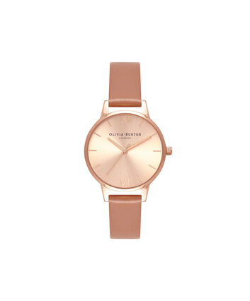 OLIVIA BURTON LONDON Sunray DialOB16MD88 – Midi Dial Round in Rose Gold - Front view