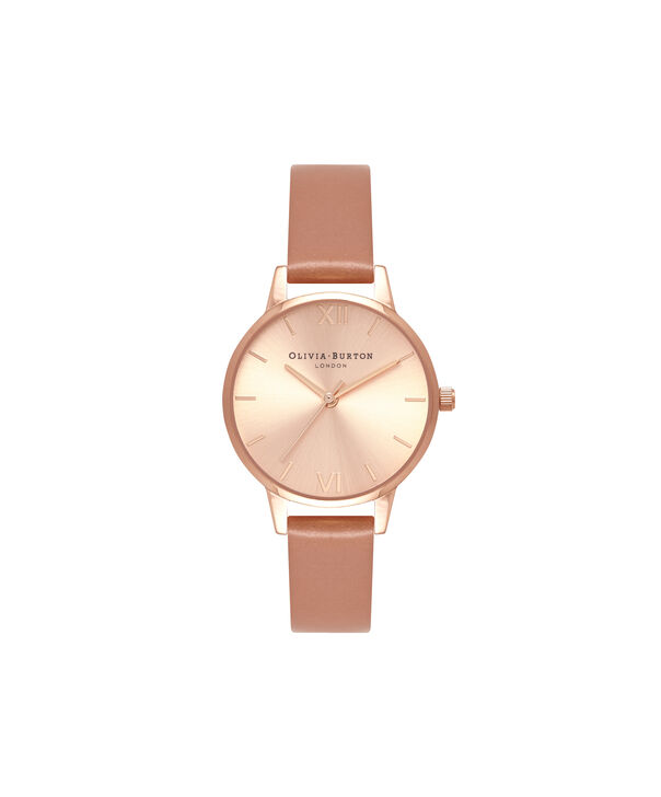 OLIVIA BURTON LONDON  Sunray Dial Midi Dial Sand & Rose Gold OB16MD88 – Midi Dial Round in Rose Gold - Front view