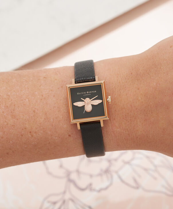 OLIVIA BURTON LONDON  3D Bee Square Dial Black & Rose Gold Watch OB16AM128 – Midi Dial Square in Black - Other view
