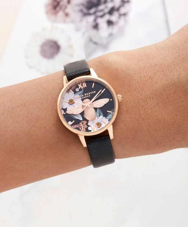 OLIVIA BURTON LONDON  Bejewelled Rose Gold Watch OB16BF05 – Midi Round Black and Rose Gold - Other view