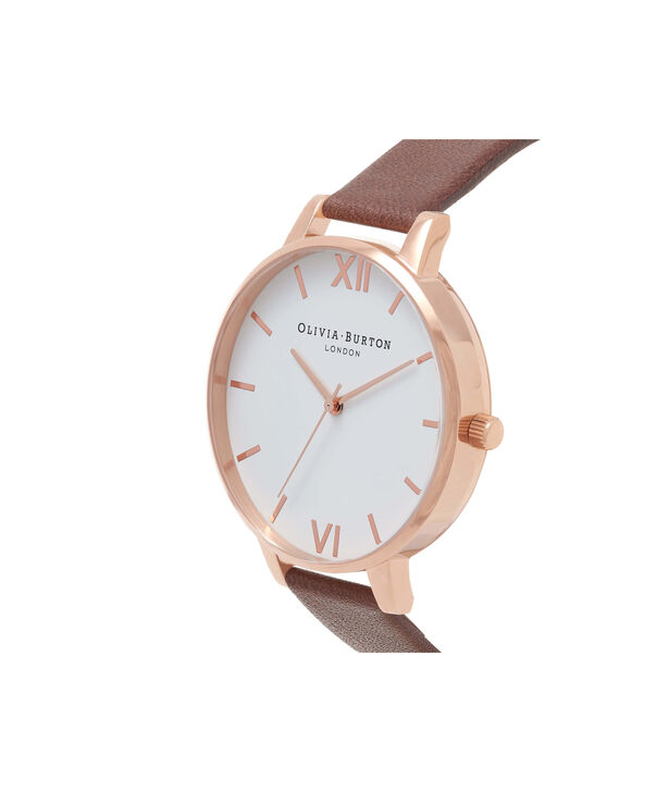 OLIVIA BURTON LONDON  White Dial Chocolate & Rose Gold Watch OB16BDW32 – Big Dial in Rose Gold and Chocolate - Side view