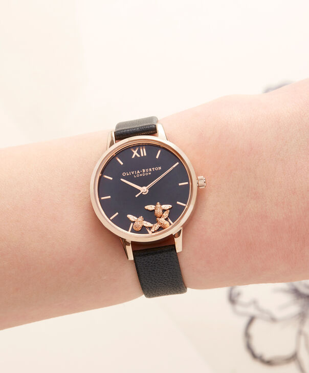 OLIVIA BURTON LONDON Busy Bee Black & Rose Gold Watch OB16CH06 – Midi Dial Round in Black and Rose Gold - Other view