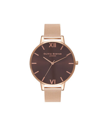 OLIVIA BURTON LONDON  Big Dial Rose Gold Mesh Watch OB16BD86 – Big Dial in Chocolate and Rose Gold - Front view