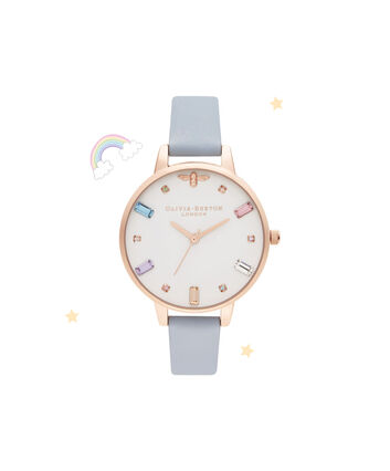 OLIVIA BURTON LONDON Rainbow Bee Demi Chalk Blue & Rose GoldOB16RB12 – Demi Dial In Blue And Rose Gold - Front view