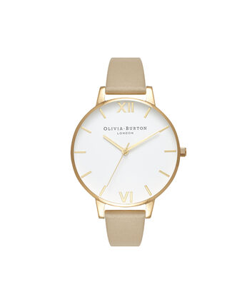 OLIVIA BURTON LONDON  White Dial Sand & Gold OB16BDW35 – Midi Dial Round in Rose Gold - Front view