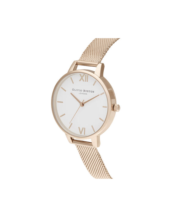 OLIVIA BURTON LONDON Demi White Dial Pale Rose Gold MeshOB16DE10 – Demi Dial In Rose Gold And Rose Gold - Side view