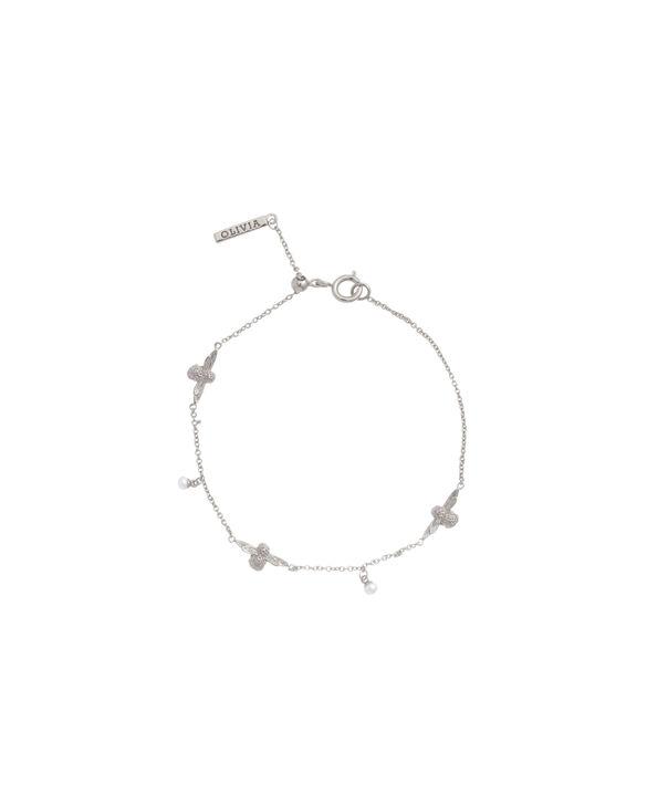 OLIVIA BURTON LONDON  Pearl Bee Chain Bracelet Silver OBJ16AMB42 – Pearl Bee Chain Bracelet - Front view