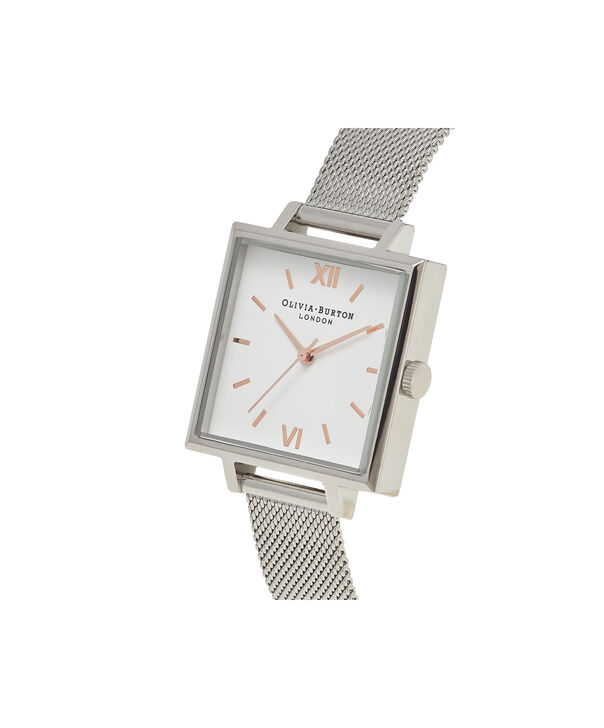 OLIVIA BURTON LONDON  Big Square Dial Silver Mesh Watch OB16SS12 – Big Dial Square in White and Silver - Side view