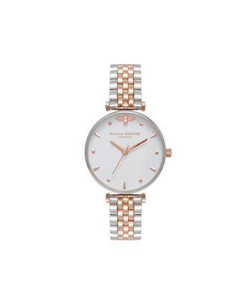 OLIVIA BURTON LONDON Queen BeeOB16AM93 – Midi in White and Silver and Rose Gold - Front view