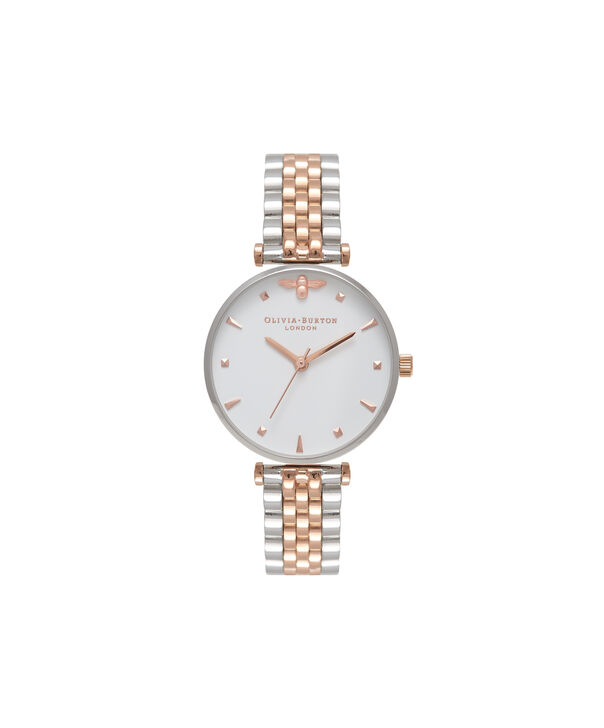 OLIVIA BURTON LONDON  T-Bar Bracelet Silver & Rose Gold Watch OB16AM93 – Midi in White and Silver and Rose Gold - Front view
