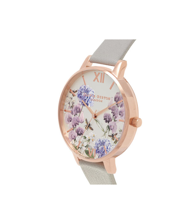 OLIVIA BURTON LONDON  Parlour Bee Blooms, Grey & Rose Gold Watch OB16PL30 – Big Dial Round in Parlour and Grey - Side view
