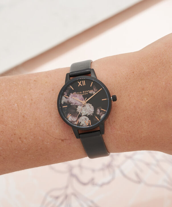 OLIVIA BURTON LONDON  Vegan Friendly Black & Ip Black Watch OB16VE11 – Midi Dial Round in Floral and Black - Other view