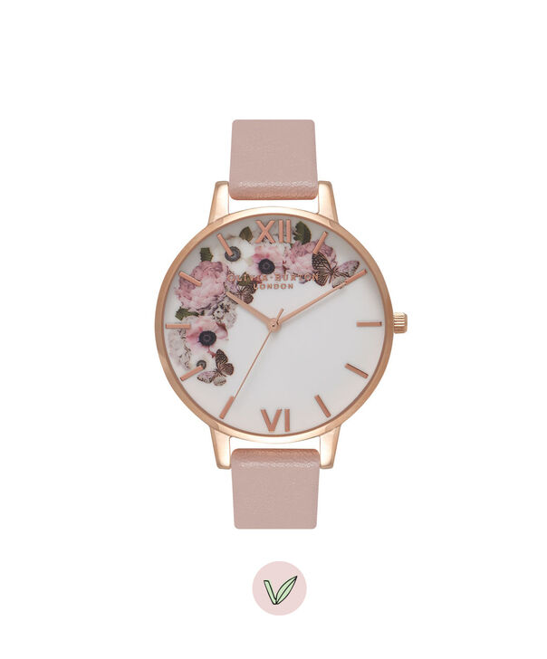 OLIVIA BURTON LONDON  Vegan Friendly Rose Sand & Rose Gold Watch OB16VE04 – Big Dial Round in Floral and Rose Sand - Front view