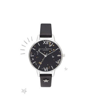 OLIVIA BURTON LONDON Celestial Star Demi Dial WatchOB16GD13 – Demi Dial in black and Silver - Front view