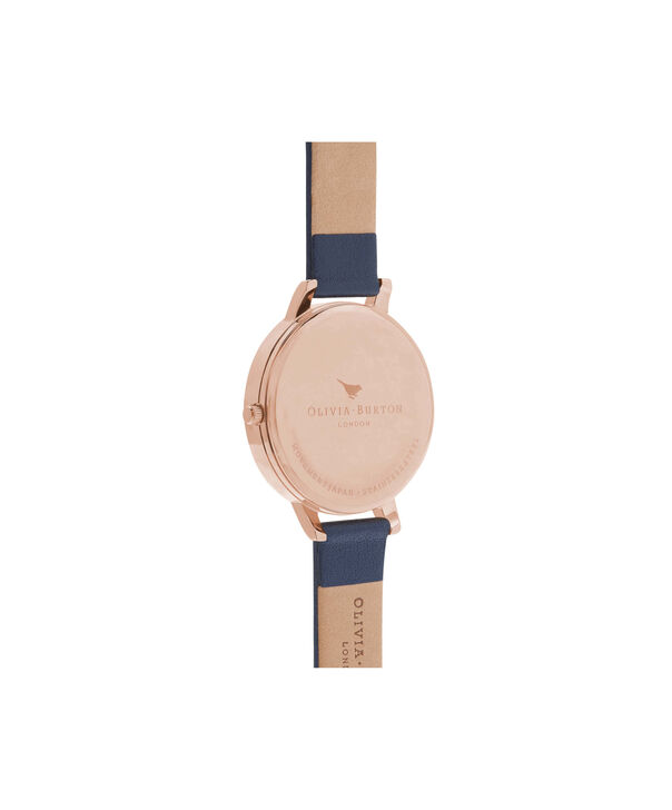 OLIVIA BURTON LONDON  Big Dial Navy And Rose Gold Watch OB13BD13B – Big Dial Round in Rose Gold and Navy - Back view