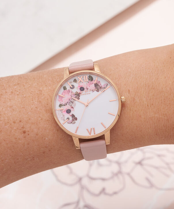 OLIVIA BURTON LONDON  Signature Floral Dusty Pink & Rose Gold Watch OB15WG10 – Big Dial Round in White and Pink - Other view