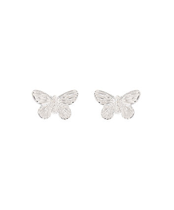 OLIVIA BURTON LONDON  3D Butterfly Stud Earrings Silver OBJ16MBE03 – 3D Butterfly Stud Earrings - Front view