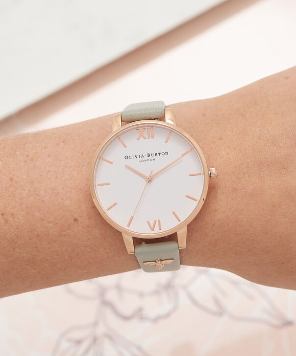 OLIVIA BURTON LONDON  3D Bee Embellished Strap Grey & Rose Gold Watch OB16ES13 – Big Dial Round in White and Grey - Other view