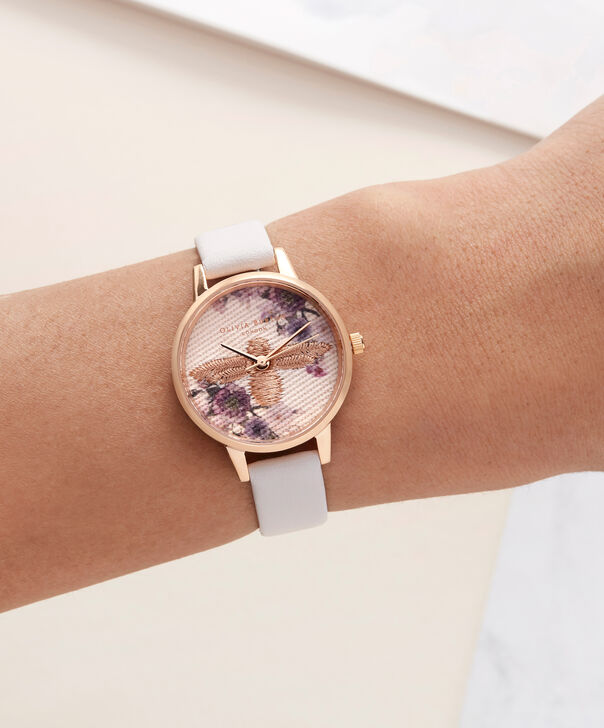 OLIVIA BURTON LONDON  Embroidered Dial 3D Bee Blush and Rose Gold Watch OB16EM06 – Midi Dial Round in White and Blush - Other view