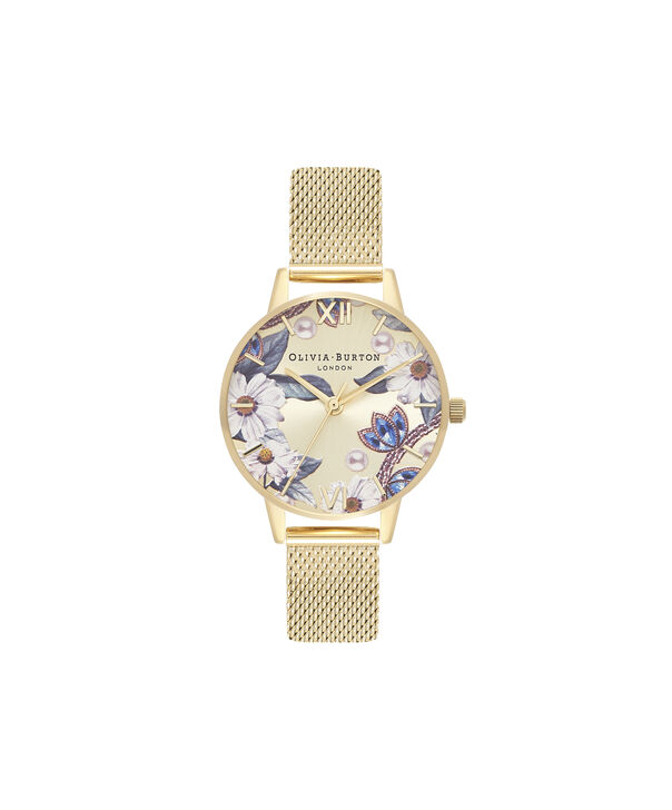 OLIVIA BURTON LONDON Bejewelled Floral Midi Gold MeshOB16EX107 – Midi Dial In Gold And Gold - Front view