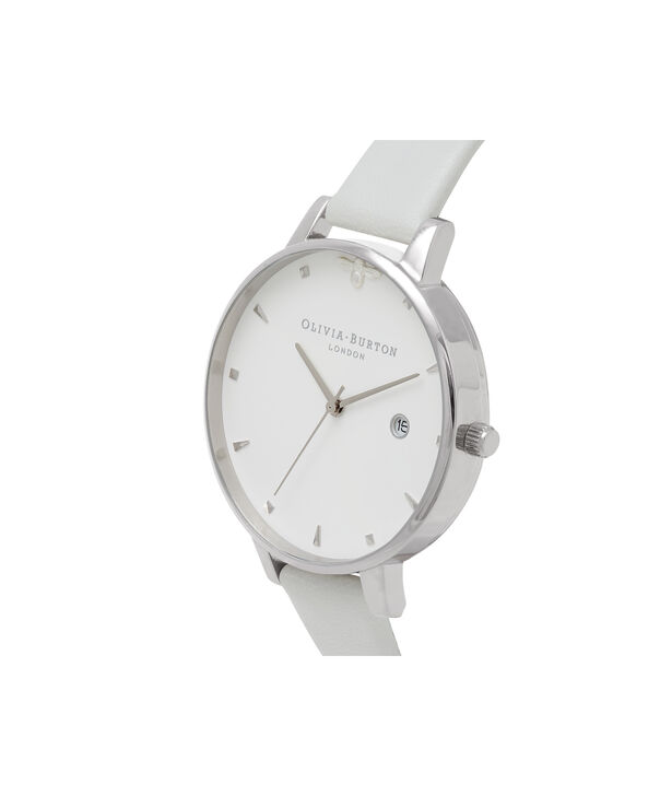 OLIVIA BURTON LONDON  Queen Bee Big Dial Silver Watch OB16AM116 – Big Dial Round in White and Silver - Side view