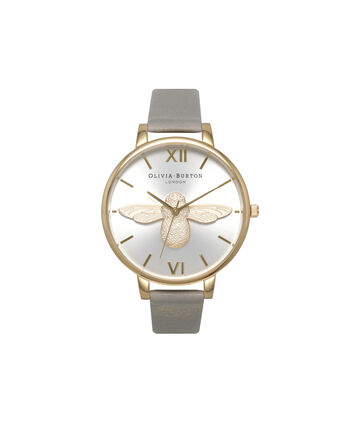 OLIVIA BURTON LONDON 3D BeeOB15AM66 – Big Dial in Grey and Gold - Front view