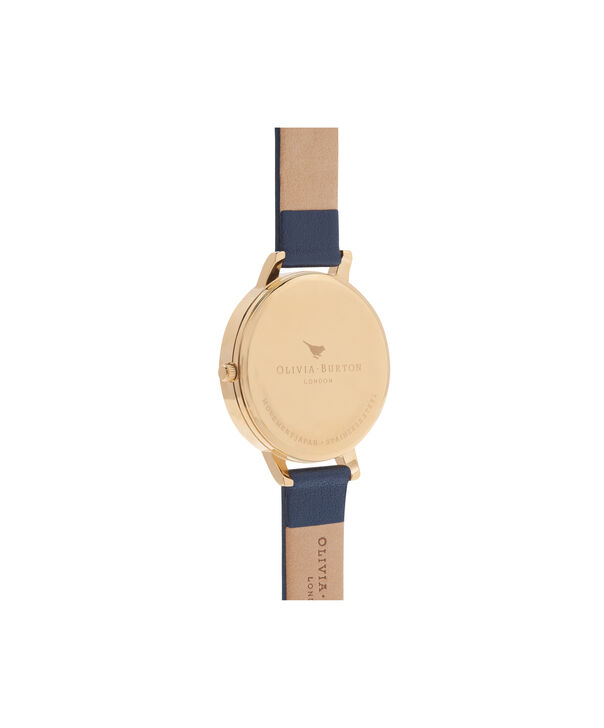 OLIVIA BURTON LONDON  Enchanted Garden Bee Blooms Midnight Dial & Gold Watch OB16EG55 – Big Dial Round in Floral and Navy - Back view