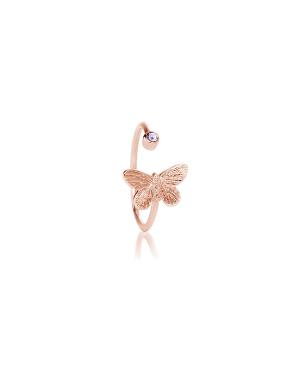 OLIVIA BURTON LONDON Bejewelled Butterfly Rose Gold & TanzaniteOBJ16MBR01 – Ring in  and Rose Gold - Side view