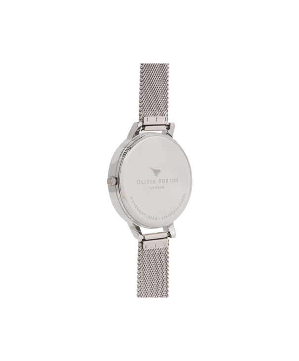 OLIVIA BURTON LONDON  Big Dial Grey Dial & Silver Mesh Watch OB15BD80 – Big Dial Round in Grey and Silver - Back view