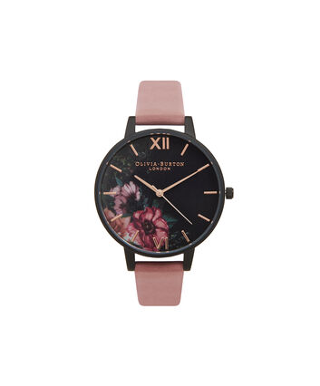 OLIVIA BURTON LONDON  After Dark Floral Matte Black Dial, Rose & Rose Gold Watch OB15FS60 – Big Dial Round in Floral and Rose - Front view