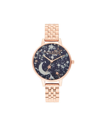 OLIVIA BURTON LONDON Ramadan Navy & Rose Gold BraceletOB16GD36 – Ramdan  Navy & Rose Gold Bracelet - Front view