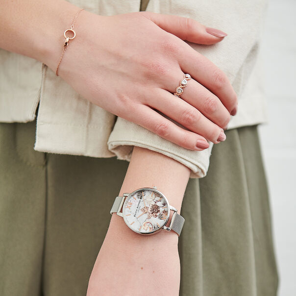 OLIVIA BURTON LONDON  Marble Floral Mesh, Rose Gold & Silver OB16MF09 – Big Dial Round in Silver , Rose Gold and Silver - Other view