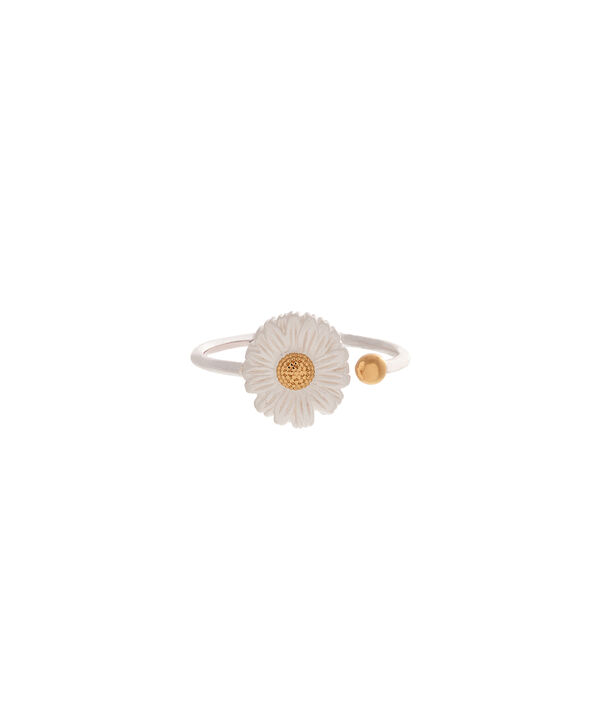 OLIVIA BURTON LONDON  Daisy Ring Silver & GoldOBJ16DAR01 – 3D Daisy Ring - Front view