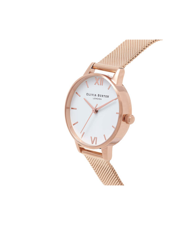 OLIVIA BURTON LONDON  White Dial Rose Gold Mesh Watch OB16MDW01 – Midi Dial in White and Rose Gold - Side view